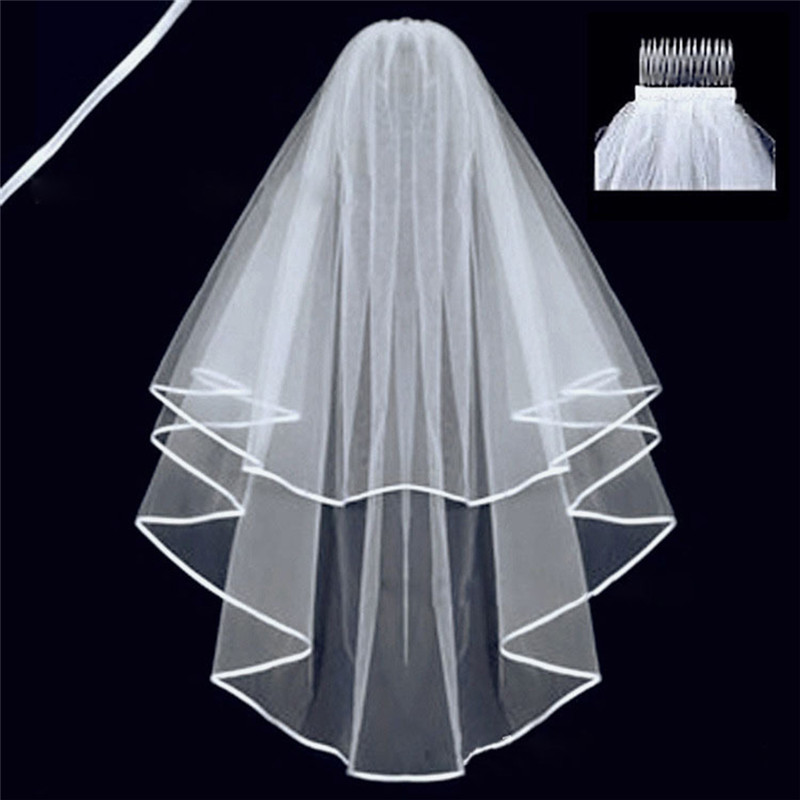 ROMAD Simple Tulle White Ivory Two Layers Wedding Veils Ribbon Edge Comb Cheap Wedding Accessories Short Bridal Veil R4