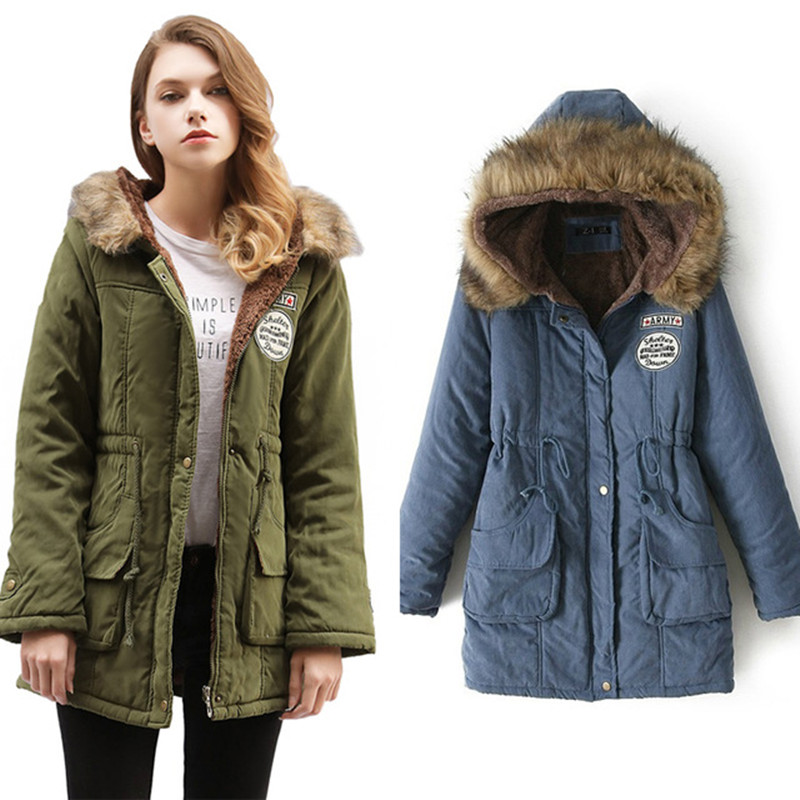Casual Women Thick Parkas Army Green Pluse Size XXXL Muti-Color Female Outwear Coat Long Lady Jacket