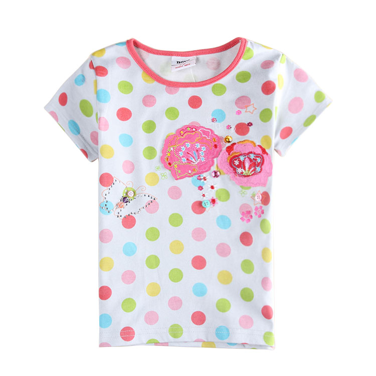 Children t shirt clothing kids wear beautiful flower and butterfly  embroidery polka dot Girls short sleeve T shirt-in Tees from Mother   Kids  on ... 68a1f3d74
