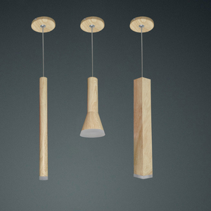 Image 2 - led Wood grain Pendant Lamp dimmable Lights Kitchen Island Dining Room Shop Bar Counter Decoration Cylinder Pipe Hanging Lamps