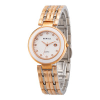2020 Rushed Bewell Marke Heiße Art Mode Damen Uhr Edelstahl Frauen Wasserdichte Quarz Großhandel Custom-in Quarz-Uhren aus Uhren bei