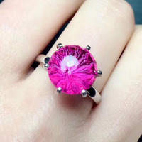 Natural pink Fireworks topaz gem Natural gemstone ring S925 sterling silver trendy Elegant round women party gift fine Jewelry