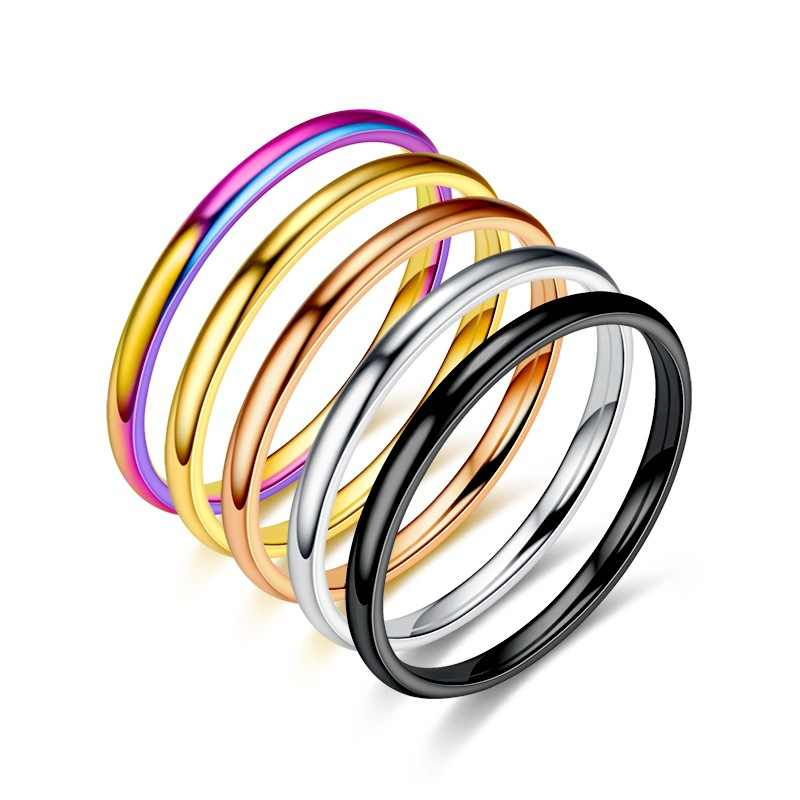 Colorful hot sale simple unisex 2 mm female male anniversary solid couple ring wedding titanium steel fashion jewelry gift