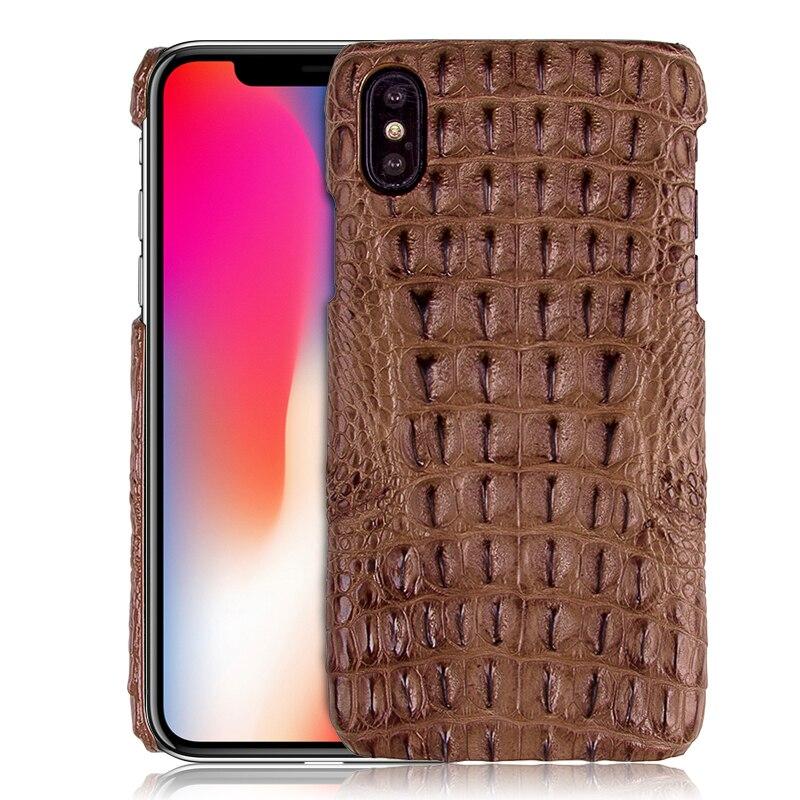 De luxe Véritable Peau De Crocodile Étui En Cuir Pour iPhone XS/XS MAX/XR/X Naturel Crocodile Retour Peau couverture Durable Téléphone Cas XS