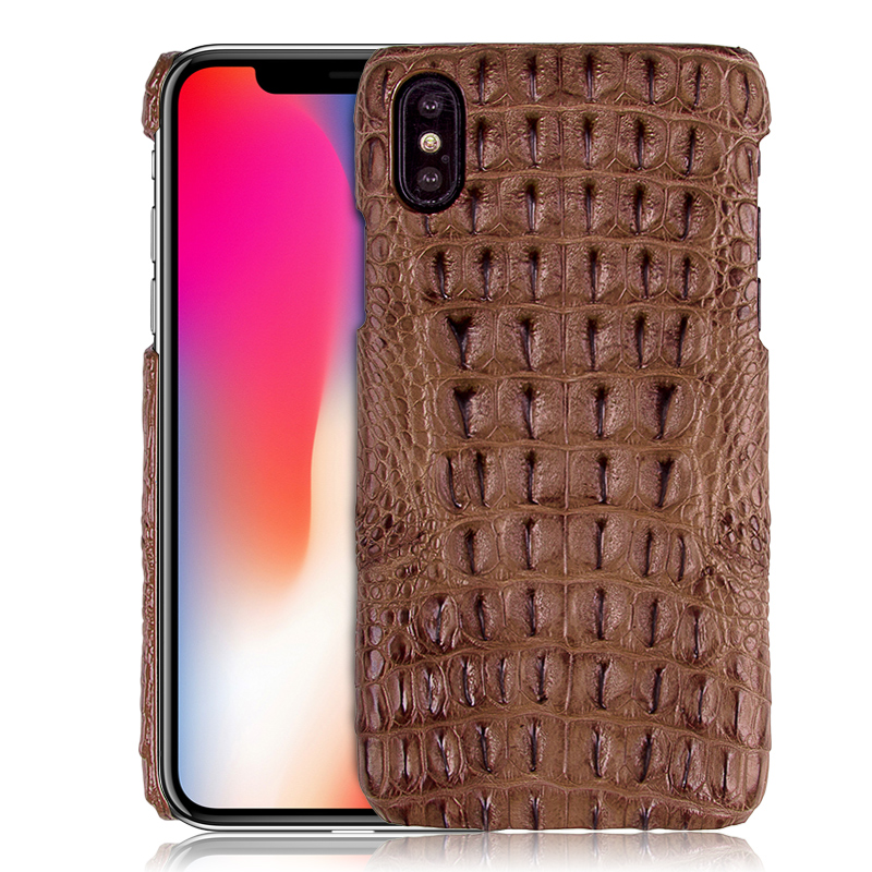 Super Luxury Genuine Crocodile Skin Leather Case For IPhone X Natural Crocodile Back Skin Cover For