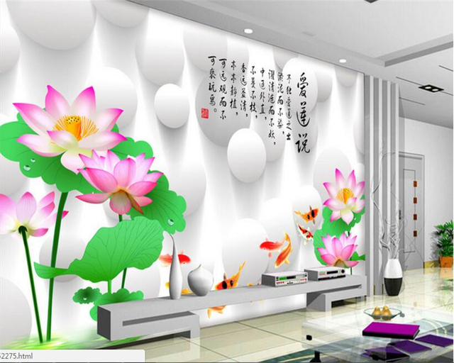 Beibehang Interior Decorating Wallpaper HD Nine Fish Lotus Stereoscopic Tv  Background Wall Painting Papel De Parede