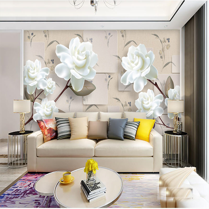 Large Custom White flower Murals papel 3d wall murals wallpaper for Living room TV background foto mural 3d Wallpaper Mural custom baby wallpaper snow white and the seven dwarfs bedroom for the children s room mural backdrop stereoscopic 3d