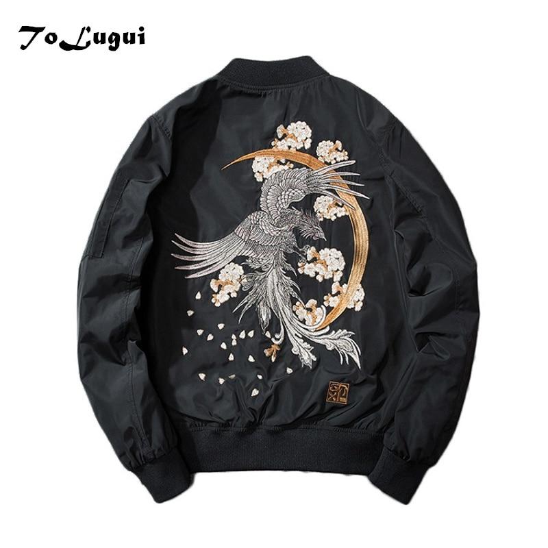 Men Jackets 2018 Embroidery Coat Men Sukajan Yokosuka Souvenir Jacket Fashion Youth Bomber Jackets Streetwear Baseball Uniform