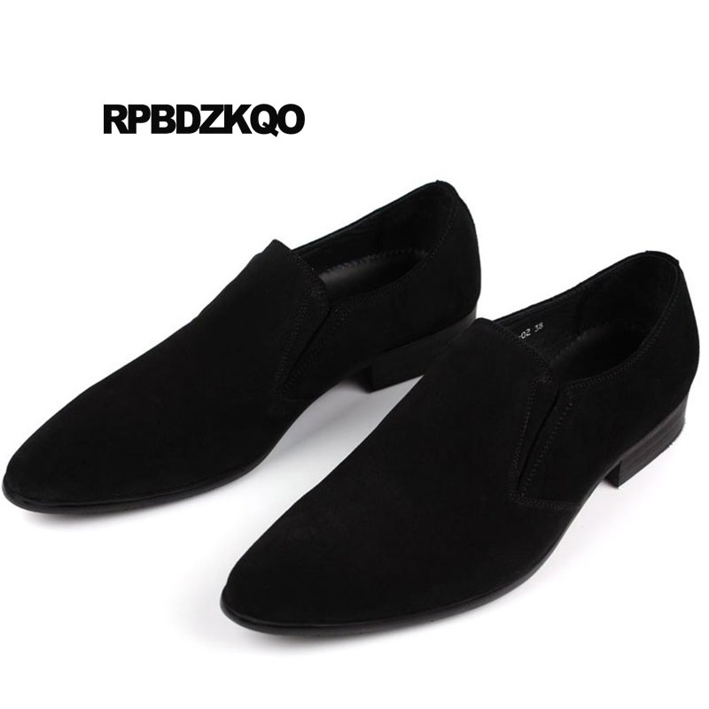 Gamuza El Punta Diseñador Alta Real Formal Vestido Hombres coffee Calidad Deslizamiento En Genuino Lujo Puntiaguda De Negro azul Confort Negro Cuero Zapatos q7S6z