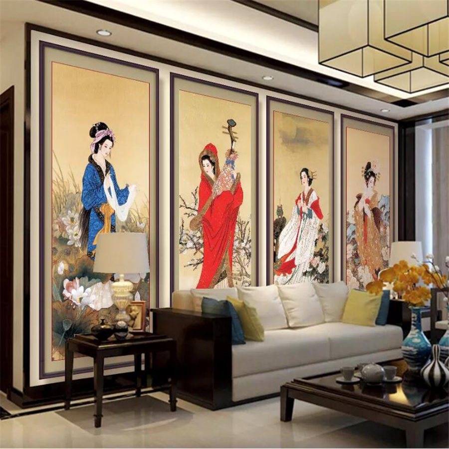 Beibehang Custom Photo Wallpaper 3d Classic Four Beautiful Chinese Living Room TV Backdrop Picture Papel De Parede 3d Wallpaper