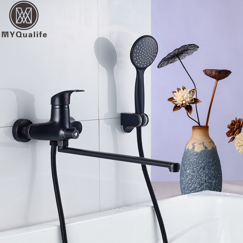 Wall Mounted Bathtub Faucet Black Color Rotated Long Nose Hot and Cold Water Bath Tub Crane Bathtub Mixers Withh Handshower