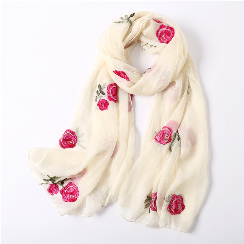 2019 New Scarf Rose Pattern Embroidery Silk Scarf Travel SunProtection Shawl Scarves Women Soft Light Foulard Femme Hijab Scarf