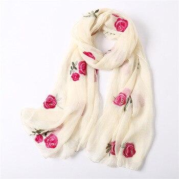 2020 New Scarf Rose Pattern Embroidery Silk Scarf Travel SunProtection Shawl Scarves Women Soft Light foulard femme hijab scarf rose bush pattern gossamer scarf