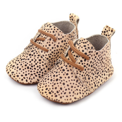 2019 Genuine Leather Baby shoes Leopard print Baby Girls Soft shoes Horse hair Boys First walkers Lace Baby moccasins 1