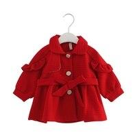 2018 Bahar Sonbahar Bebek Kız Trençkot Uzun Ceket Çocuklar Palto Kız Dış Giyim kayışlı 0-2 T kırmızı pembe