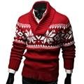 Рождество пуловеры мужчины вязаный свитер узоры зима V-образным Вырезом трикотаж перемычка теплый мягкий fomme вскользь уменьшают подходящие мужской свитера