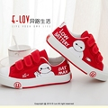 Hand-painted snow man red children casual shoes Hook&Loop closure type Kids canvas shoes environmental protection pigment