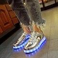 Загорается Светодиодный Световой Мужчины Обувь Серебристые Светящиеся Повседневная Обувь Унисекс с Новый Моделирование Единственного Заряда для Мужчин Теннис Led