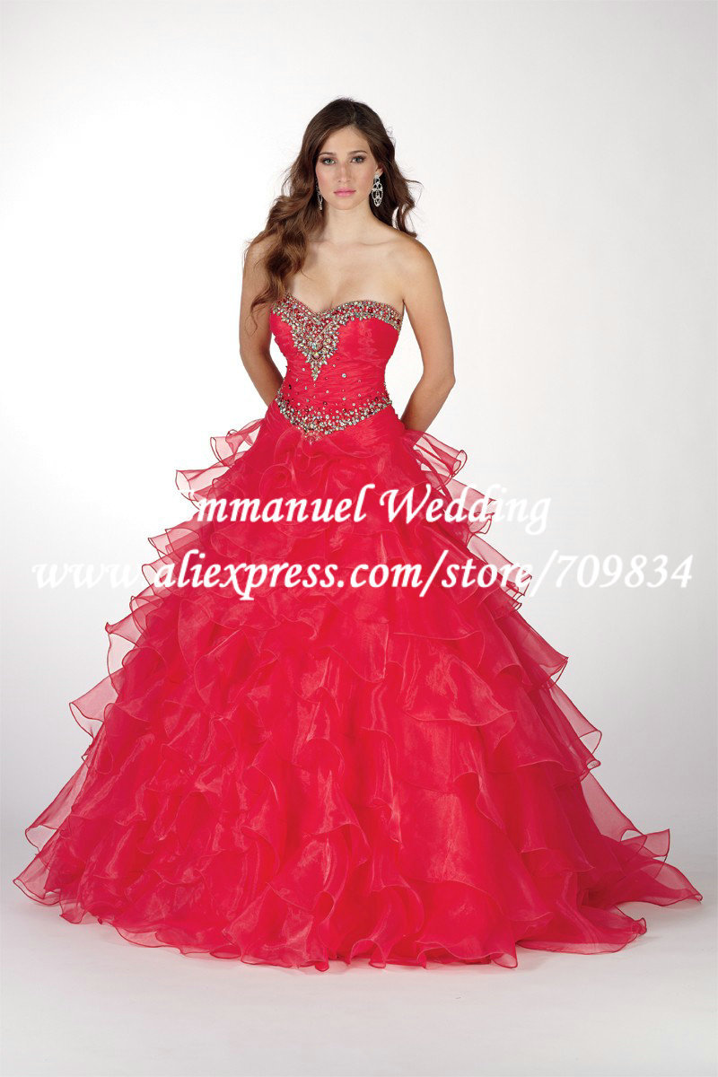 Cheap Sweetheart Bandage Pleat Ball Gown Red Organza Ruffles Long Prom Dresses 2014 Crystal Sparkly TB514 - Emmanuel Wedding store