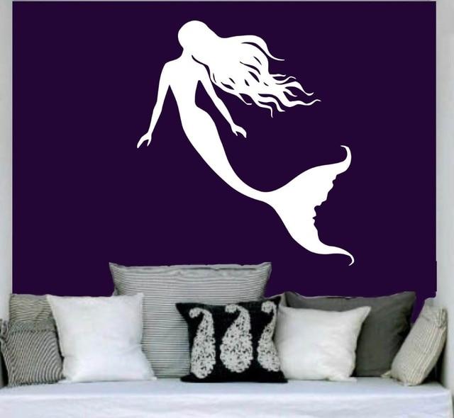 young mermaid back shadow adhesive wall stickers baby nursery wall