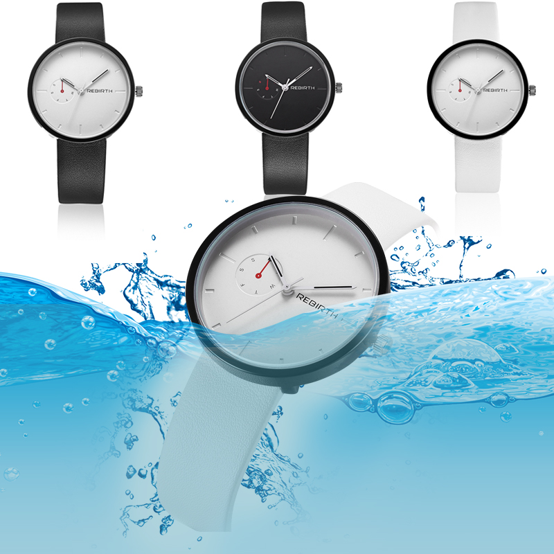 REBIRTH quartz horloge lederen vrouwen horloges casual merk luxe - Dameshorloges