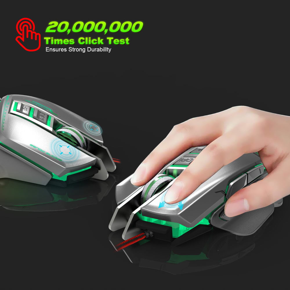 Image 3 - ZERODATE 11 programmable button USB wired optical mouse 3200DPI color backlight mechanical macro definition game mouse game PC-in Mice from Computer & Office