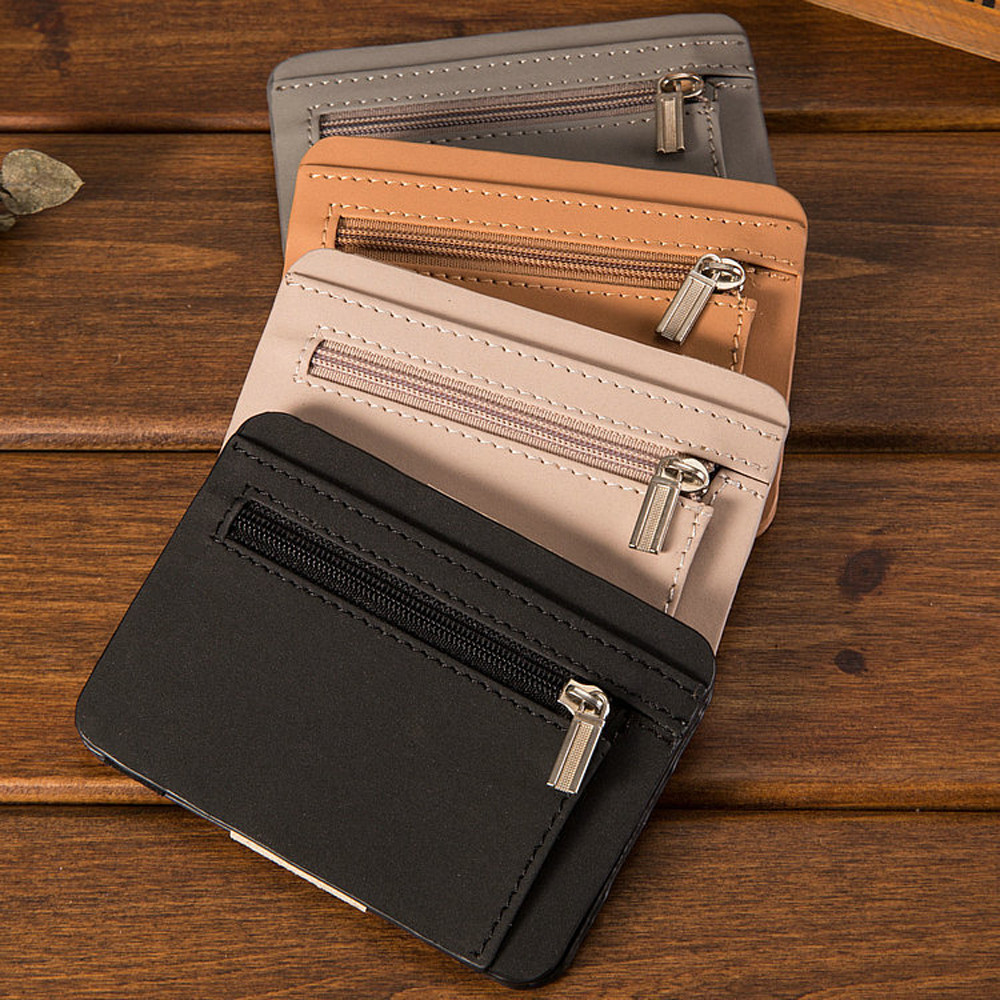 72101bcfd20a DKER New Men Women Genuine Leather Coin Purse Fashion Zipper Open ID ...