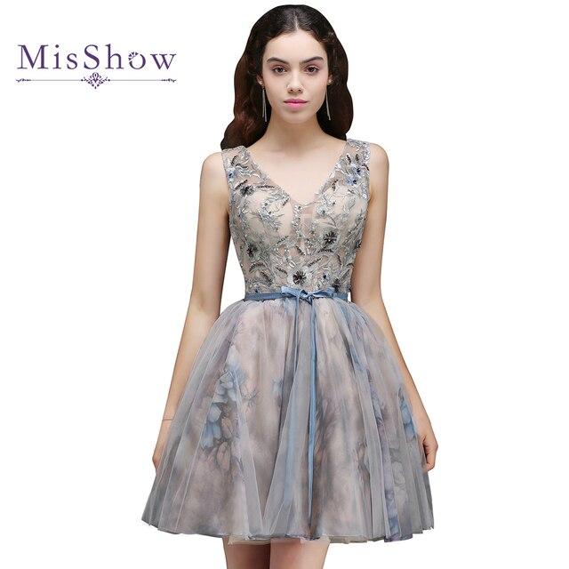 bd7499f5d8d95 Mütevazı kız elbiseler Mezuniyet Elbiseleri 2019 Ucuz Yaz bir hattı Boncuk  kokteyl parti elbise Kısa Mini