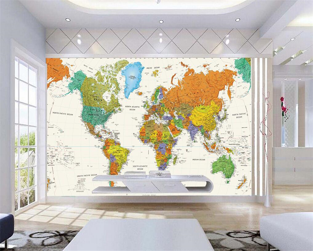 Beibehang Custom Wallpaper Living Room Bedroom Mural Nature Trophy World Map Mural TV Wall Background Wall mural 3d wallpaper free shipping 3d cartoon graffiti mural living room sofa background wall coffee house tv restaurant bar wallpaper mural