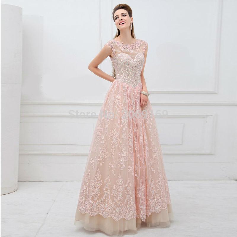 Nouveauté remise Sexy voir à travers Appliques perles robe de soirée formelle 2019 longue o-cou robe de bal robe de princesse pour les femmes