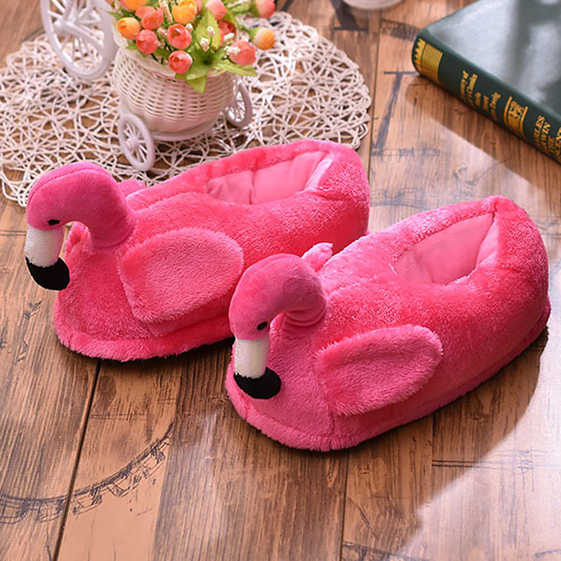 Women Fur Slippers Winter Shallow Short Plush Flamingo Cute Shoes For Girls Pink Comfy Flock Flat House Slipper Casual Pantuflas in Slippers from Shoes
