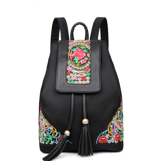2017 Casual Embroidery Women Backpack Simple National Oxford Tassel Floral Travelling bag Black and Blue colors