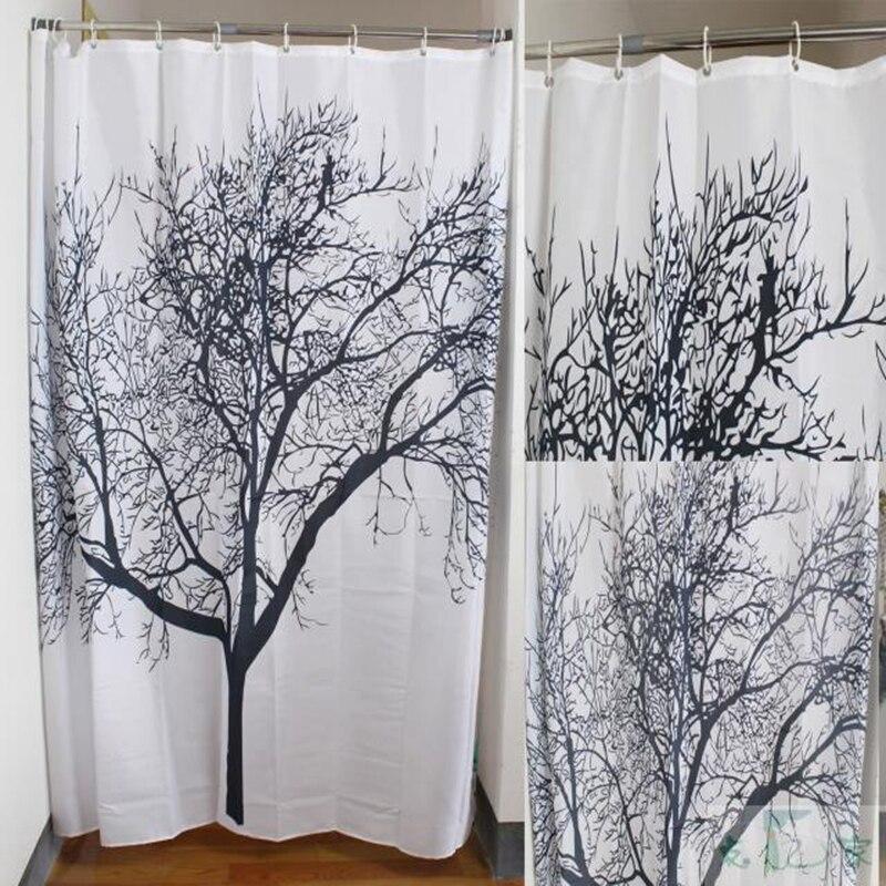 New Stylish Splash Waterproof Fabric Shower Curtains Black Tree ...