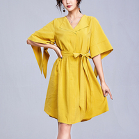 Summer New Temperament Cotton Dress Women's Yellow Solid Color Waist Lace Up V neck Loose Flare Sleeve A line Dress Office Lady