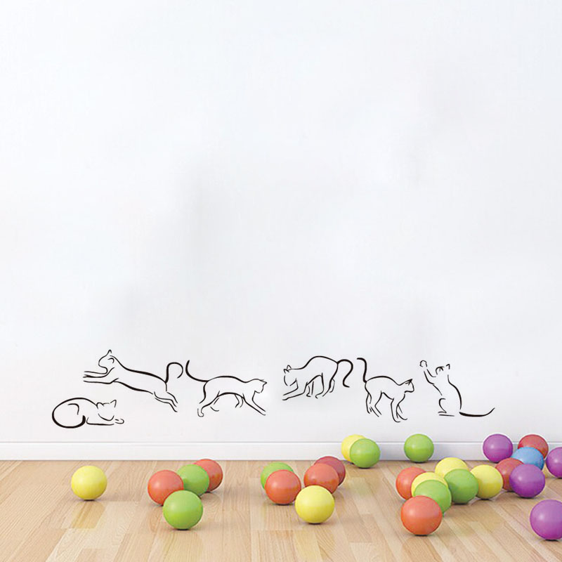Dctop Collection Cats Outline Vinyl Wall Sticker For Kids Rooms Removable Funny Cat Wall Decals Home Decor Kitchen Sticker