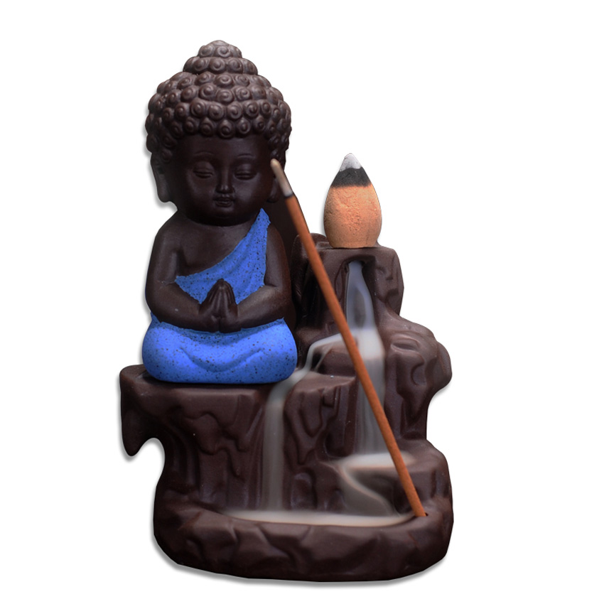 Small Buddha Cone Incense Burner Incense Sticks Holder Yixing Purple Clay Creative Backflow Tower Censer Home
