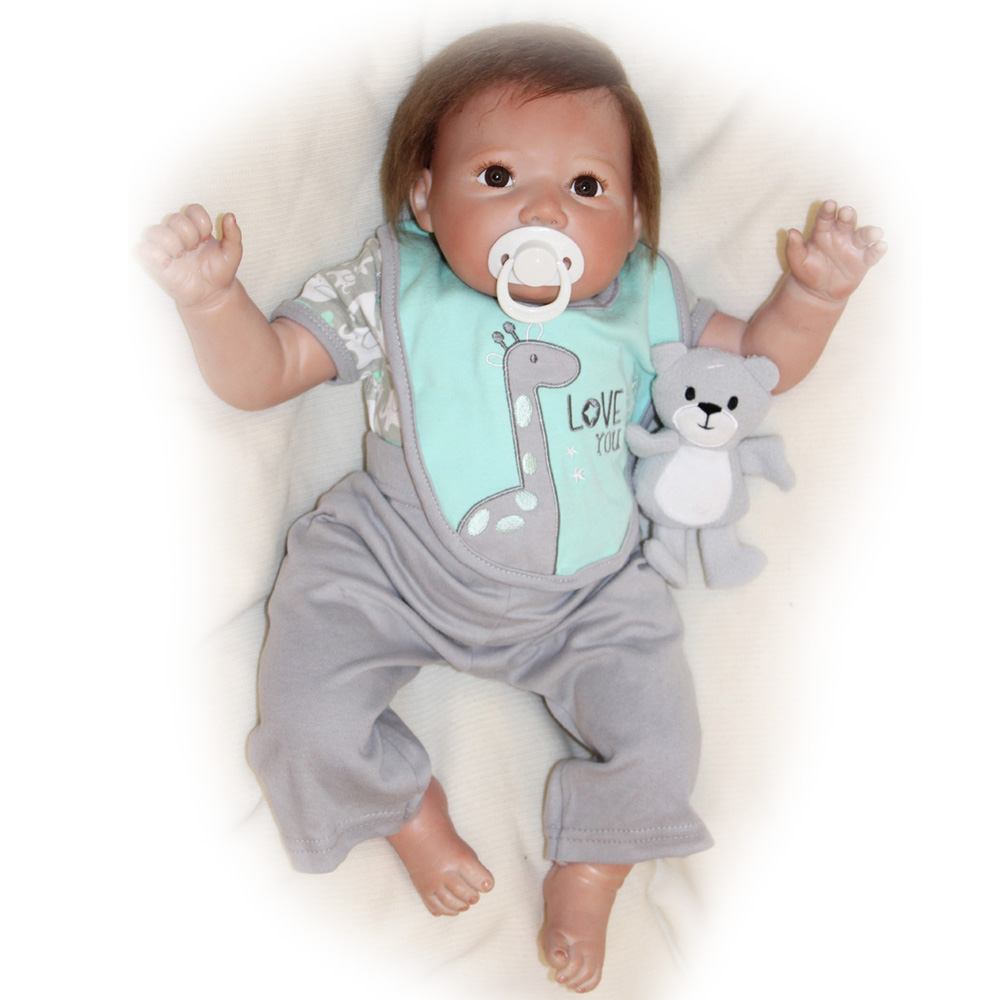 50-55CM Silicone Doll Reborn Baby Boy Lovely realistic Handmade Cloth Body high quality Dolls Toys Growth Partners Best Gift kid 55 cm silicone reborn handmade cotton body boy dolls realistic baby doll silicone reborn kids toys juguetes brinquedos