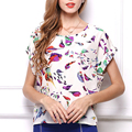New 2017 Fashion Summer Women Print Chiffon Blouse Tops Loose Short Sleeve Casual Womens Girl O-neck Cute Shirt Q3536