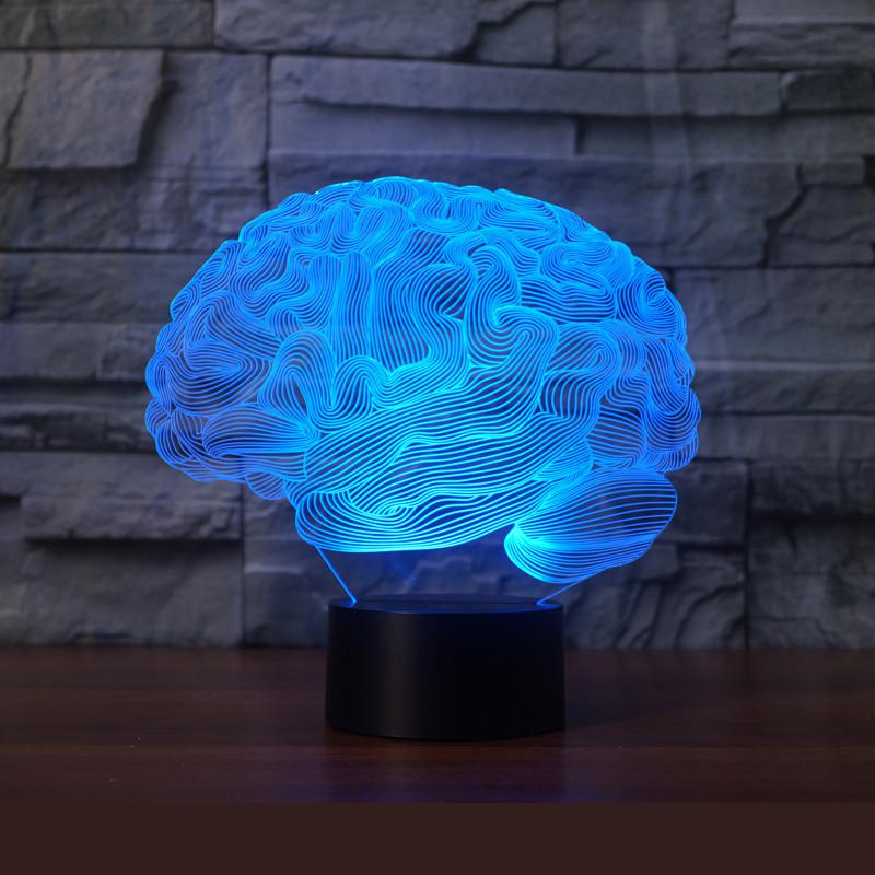 New Brain 3d Lights 7 Colorful Remote Control Lamp Acrylic  3d Led Lamp Novelty Luminaria Led Night Light LampsNew Brain 3d Lights 7 Colorful Remote Control Lamp Acrylic  3d Led Lamp Novelty Luminaria Led Night Light Lamps