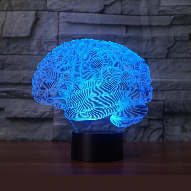 Lamp Lighting: New Brain 3d Lights 7 Colorful Remote Control Lamp Acrylic