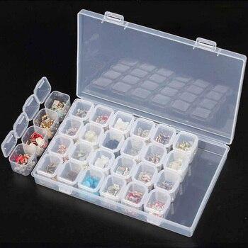 28 Slots Plastic Diamond Painting Storage Box Nail Art Rhinestone Beads Diamond Painting Kits Clear Diamond Painting Accessories