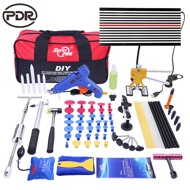 PDR Tools Paintless Dent Repair Tools Dent Removal Kit LED Reflector Board Dent Puller Glue Sticks Hand Tool Set ferramentas цена