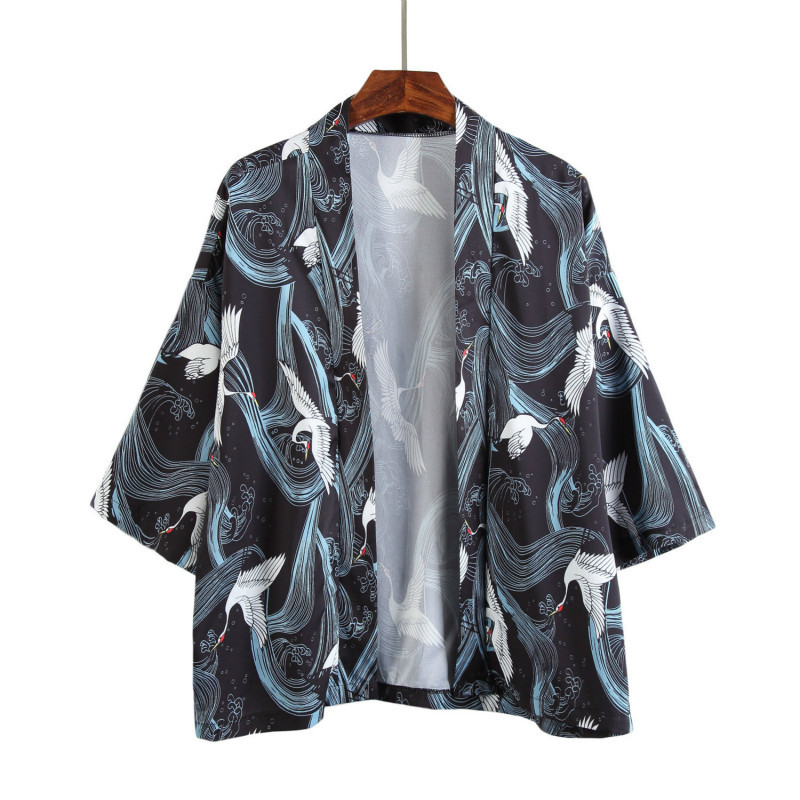 Seven Part Sleeve Kimono Cardigan Thin Half Shirt Surplices Sunscreen Clothes personality city boy fashion letter Free shipping