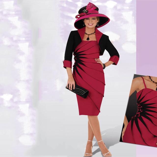 Vermelho e Preto Plus Size Mãe dos Vestidos de Noiva para o casamento com Casaco Na Altura Do Joelho Curto Vestidos de Noite Formais