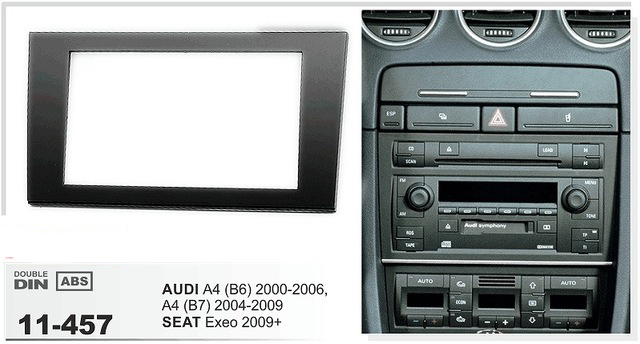 11 457 car cd dvd radio stereo face facia surround trim frame for SEAT Exeo 2009+ / AUDI A4 (B6) 2002 2006, A4 (B7) 02 07 2DIN
