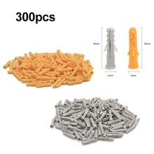 цена на 300pcs/lot M6*30mm Plastic Expansion Pipe Rubber Plug Plastic Pipe Nylon Column Expansion Screw