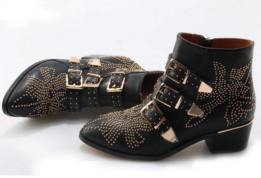 Sexy moda remaches Susanna tachonado cuero hebilla tobillo botas mujeres gatito tacones zapatos de invierno tachonado tobillo botas para mujer - 2
