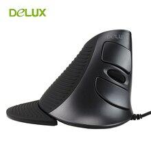 Вертикальная мышь Delux M618 PC Компьютерная Проводная вертикальная мышь эргономичная мышь USB 1600 Точек на дюйм Оптический 6 Кнопка вертикально Здоровый мышь для ПК, ноутбука,