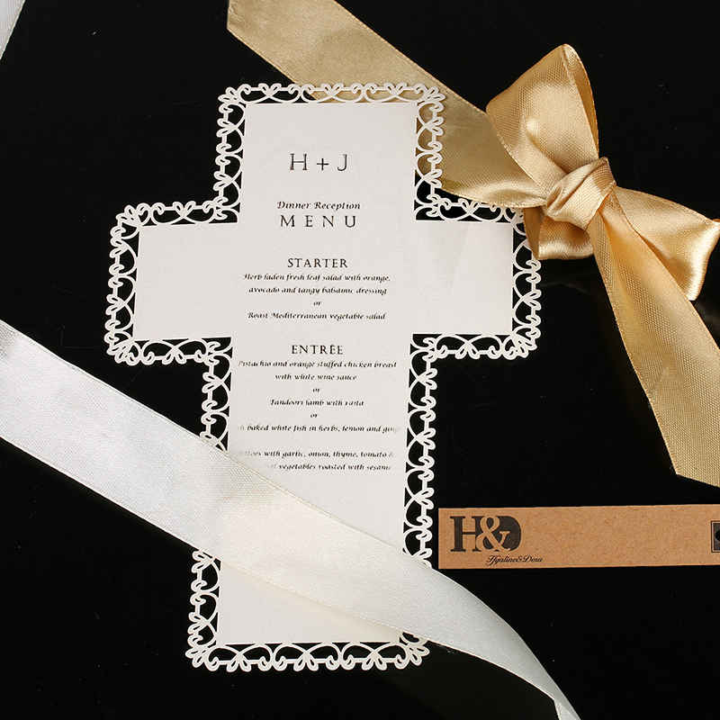 Wedding Invitation Cost: 120pcs Printing Personalize White Lace Cross Design