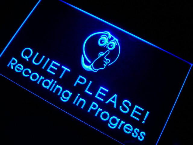 m096 Recording in Progress Quiet Please LED Neon Sign On/Off Swtich 20+ Colors 5 Sizes
